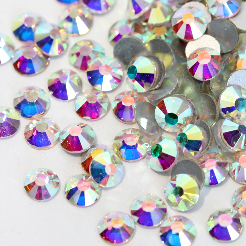 d8253e046333 Glitter Rhinestones Crystal AB SS3-SS40 Non Hot Fix Rhinestone Sewing    Fabric Non hotfix FlatBack Strass Nail Art Stone Y2801