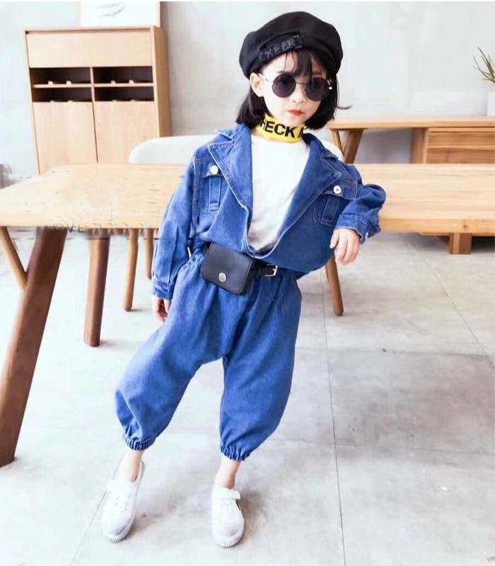 Children 2018 spring new children's clothing girls denim suit boy baby jacket short paragraph with trousers 2 set baby boy girl denim bib jeans trousers 2017 spring new arrival children clothing with pockets korean kids patchwork belt pants