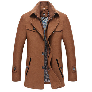 Image 4 - FGKKS hommes hiver laine manteau hommes automne décontracté couleur unie multi poche laine mélanges laine caban mâle Trench manteau pardessus