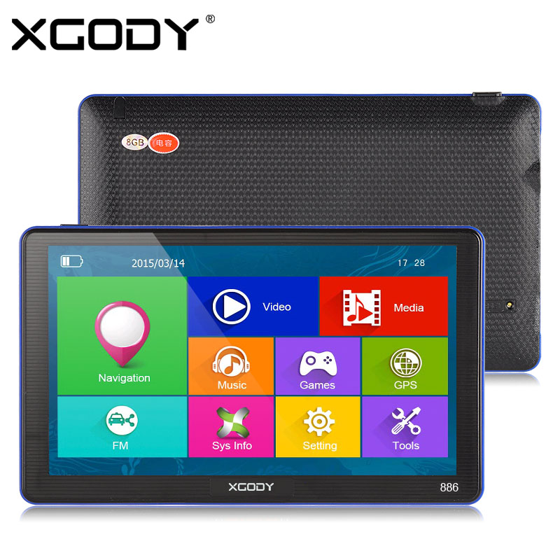 XGODY 7 inch Capacitive Screen Car Truck GPS Navigation 256M 8GB Bluetooth AV-IN FM Navigator 2016 Europe Navitel Russia Maps aw715 7 0 inch resistive screen mt3351 128mb 4gb car gps navigation fm ebook multimedia bluetooth av europe map