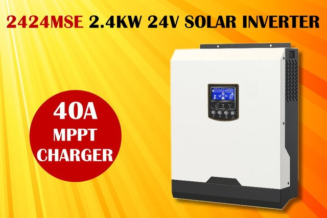 (MSE) Solar inverter 3kva 2400w 24v 230Vac + 40A MPPT solar charger + battery charger pure sine wave
