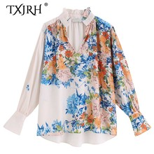 TXJRH 2019 Vintage Ethnic Bloom Floral Print Wood Ears V-Neck Pullover Shirt Fashion Women Long Flare Sleeve Blouse Tops fashionable women s bat sleeve ethnic print scoop neck blouse
