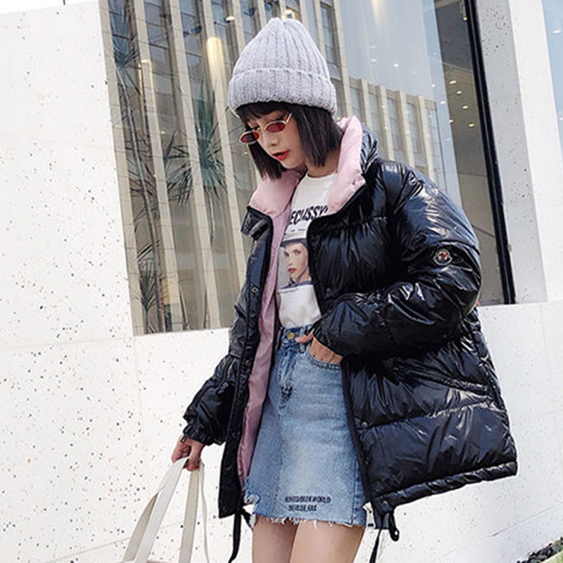Bright face down cotton coat women short paragraph 2019 new student Oversize cotton jackets women   parkas