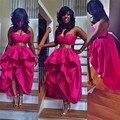 Сексуальный Корсет Высокая Низкая Пром Платья 2016 Плюс Размер Baile Курто Милая С Плеча Спинки Партия Женщины Платье