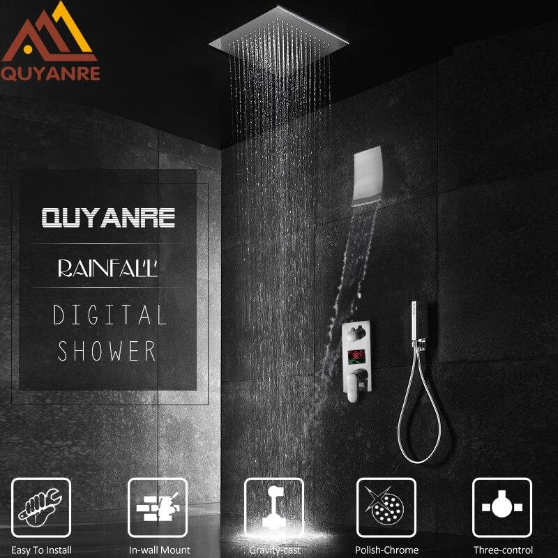 Quyanre 3-way Digital Shower Faucets Ceiling Mount Rain Shower Head Digital Display Mixer Tap Waterfall Bath Shower Torneira