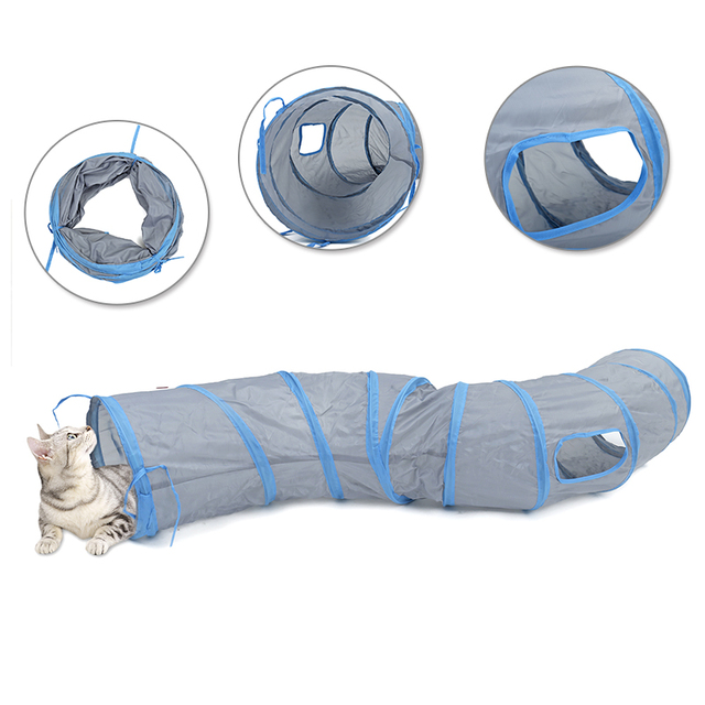 """Drop shipping """"S"""" Cat Toys Tunnel Long 1.2M Lovely Funny Design 2 Windows and 2 Holes Cat Tunnel Toys Kitten Puppy Pet Supplies 3"""