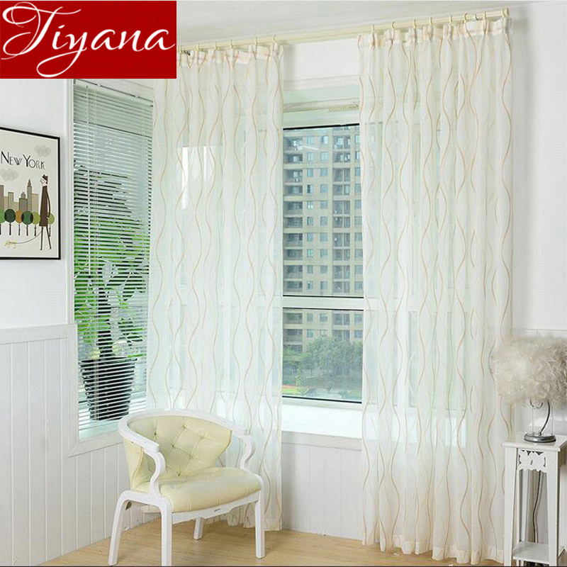 Kitchen Curtains Fabric Curtains Fabric Stripe Drapes: Jacquard Striped Curtains Voile European Window Treatment