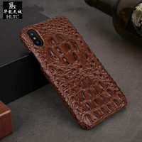 HLTC Luxury 3D Back Case For iPhone X Cover Genuine Leather Crocodile Head Phone Bags Cases For Apple iPhone X iPhoneX