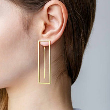 ALYXUY Personality Fashion Long Geometric Square Drop Earrings Gold Color Rectangle Earring for Women Party Jewelry Gift цена и фото