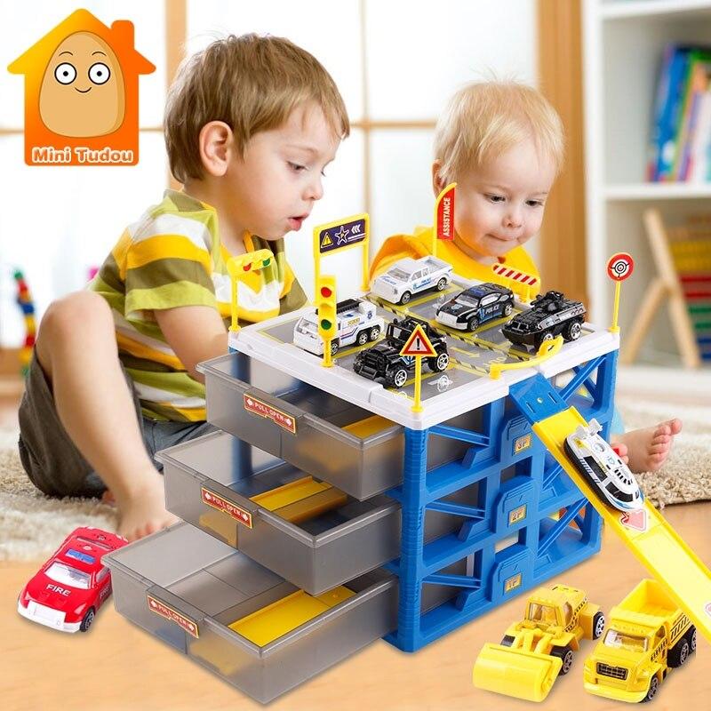 Voiture pour enfants jeu de circuit Mini Parking Lot 6 pièces Voitures De Stockage Boîte D'allumettes bricolage signalisation routière Fente modèle voiture Jouets Carport Garage Jouet Pour Enfants