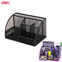 Deli Steel Mesh Desk Set Desktop Organizer Pen Stationary Holder Office Desk Storage Box Accessories