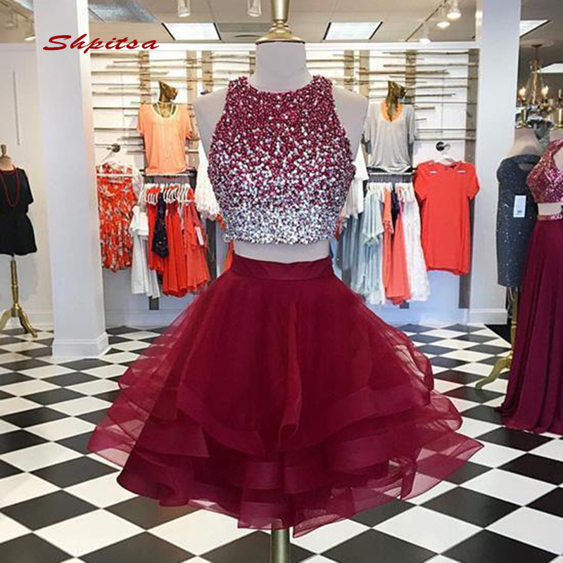 Luxury Short   Cocktail     Dresses   Party Two 2 Piece Homecoming Graduation Women Prom Plus Size Coctail Mini Semi Formal   Dresses