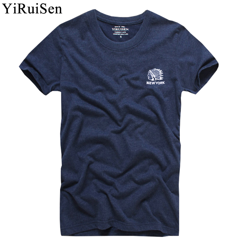 Top Quality 100% Cotton Indian Embroidery   T     shirt   Men Short Sleeve Summer   T  -  Shirt   Fashion Clothing YiRuiSen Brand Tshirt Homme