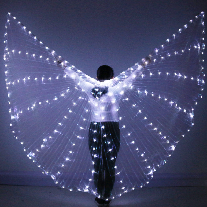 vijTIAN Children LED Belly Dance Wings Colorful Butterfly Wings with Telescopic Stick