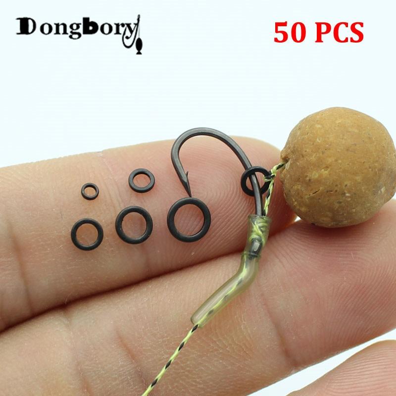 50pcs Carp Fishing Accessory Rig Rings 2.0mm 3.1mm 3.7mm 4.4mm 5.3mm Blowback Rig Ring Round Matt Black Terminal Tackle