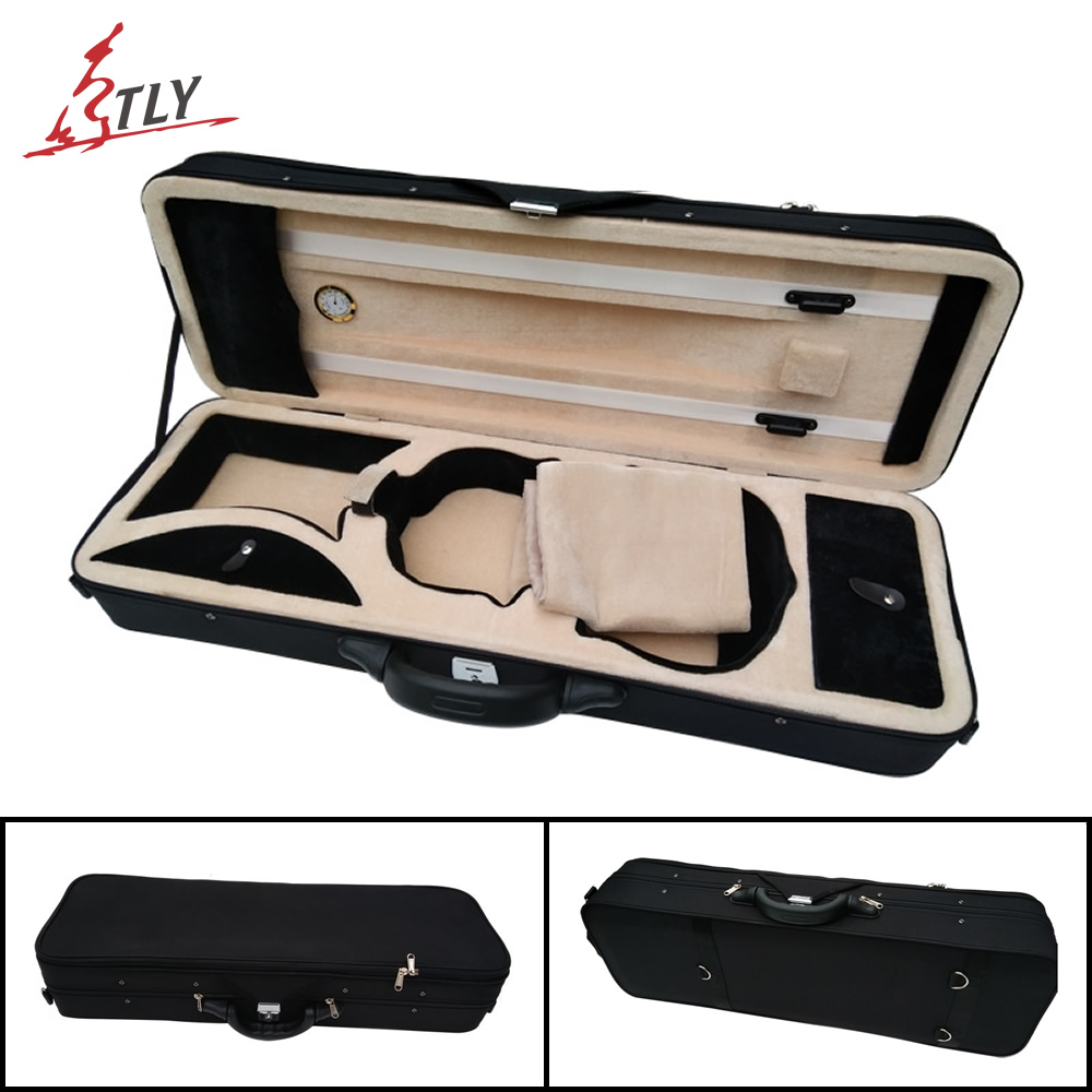 Black Oxford Fabric Foamed Large Storage Rectangle Violin Case w/ Hygrometer for 4/4 Violin free shipping full size 4 4 foamed cello case in black color