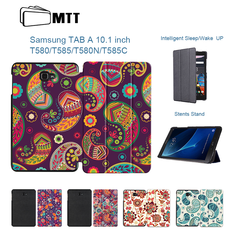 MTT For Samsung Galaxy Tab A A6 10.1 2016 SM T580 T585 T580N Case Colorful Flowers Skin Stand Flip PU Leather Tablet Cover Funda