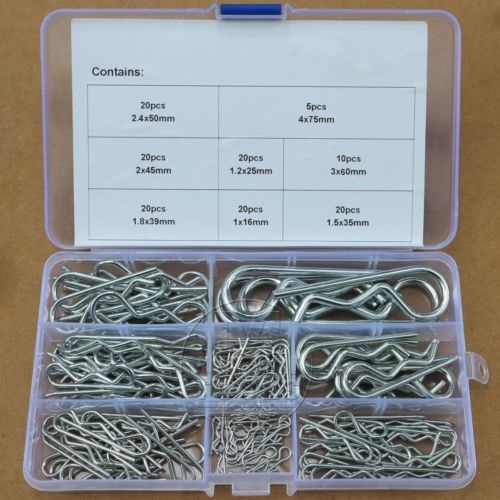 135Pcs Industrial R Pins Mechanical Hitch Hair Pin Tractor Clip Assortment Kit trlr hitch receptacle kit