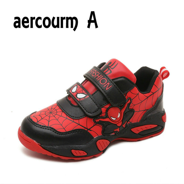 Aercourm A 2016 Spider-Man Kids Shoes Autumn Boys Sports Shoes Outdoor Breathable Running Shoes Winter Girls Sneakers 26-36