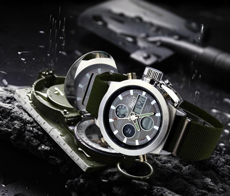 AMST Military Watches Dive 50M Nylon&Leather Strap LED Watches Men Top Brand Luxury Quartz Watch reloj hombre Relogio Masculino 12