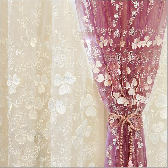 High quality Korean type 3D relief Window sheer Curtain Tulle voile for Living Room children's Bedroom white purple 1pcs price