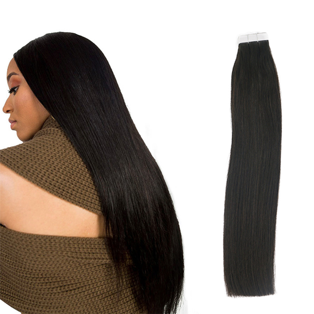 Sindra Tape In Human Hair Extensions Pure Color #1B Natual Black 50G 100G Per Pack 100% Remy Hair Extensions Tape On Hair