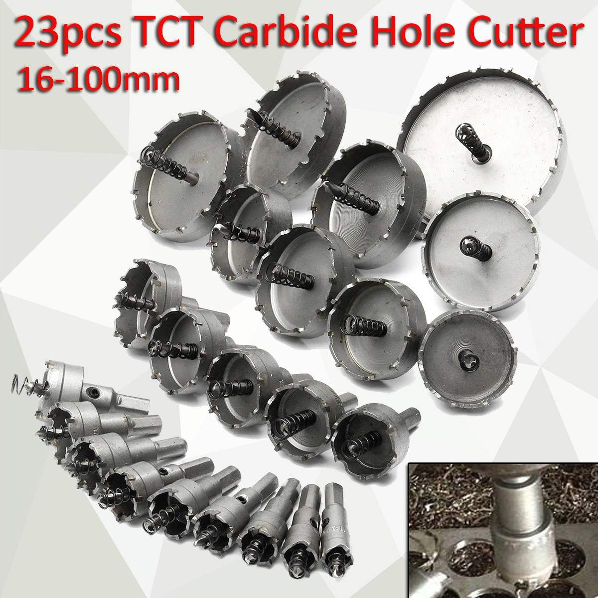 New 23pc/Set Alloy Silver 16-100mm Hole Saw Set Steel Carbide Tip Drill Bit Metal Wood Cutter Drill Electric Drill Chuck 6pcs lot stainless steel tct drill bit set carbide tip drill bit hole saw cutter for metal alloy drilling tool