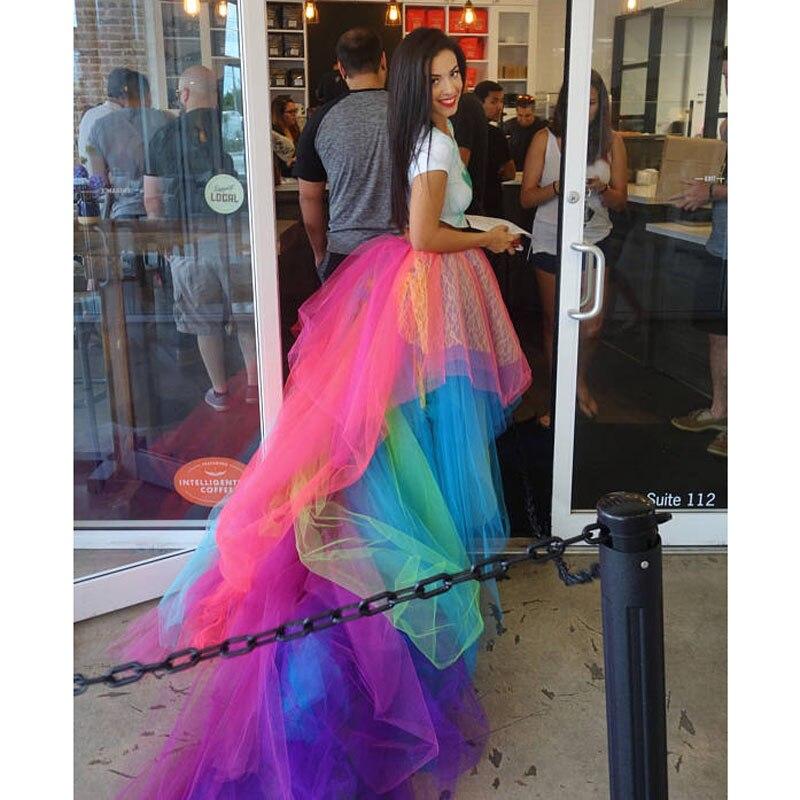 Colorful High Low Long Tulle Skirts Ruffles Tiered Hip Hop Female Tutu Skirt Elastic Custom Made Bottom Halloween Rainbow