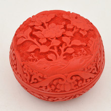 Exquisite Chinese Flower Red Cinnabar Lacquer Flower Auspicious Jewelry Box exquisite chinese flower red cinnabar lacquer beautiful flower auspicious jewelry box