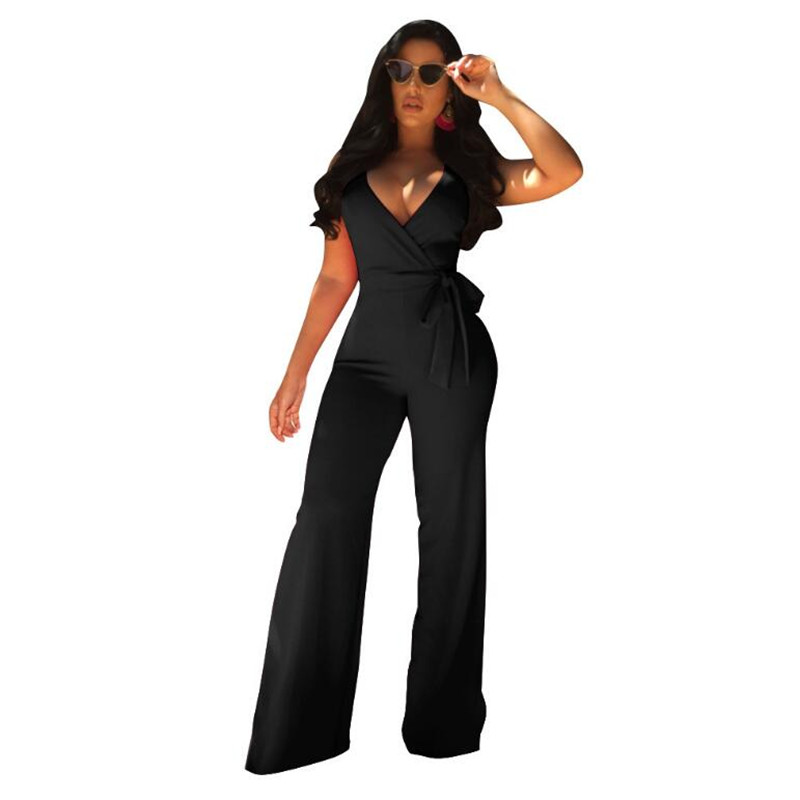 2019 New Women Summer Sexy Spaghetti Strap   Jumpsuits   Sleeveless Wide Leg Pants Rompers Backless Female Black White Blue   Jumpsuit