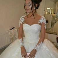 Fansmile 2019 Long Sleeve Vestido De Noiva Lace Gowns Wedding Dresses Custom-made Plus Size Bridal Tulle Mariage FSM-538F