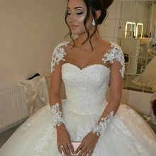 Fansmile 2020 Long Sleeve Vestido De Noiva Lace Gowns Wedding Dresses Custom made Plus Size Bridal Tulle Mariage FSM 538F