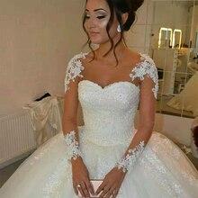 Fansmile vestido de noiva de mangas compridas, vestidos de casamento personalizados, tamanho grande, tule, 2020