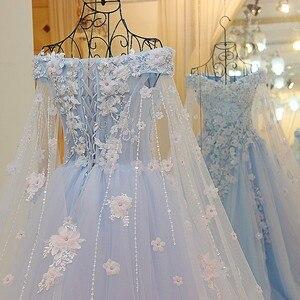 Image 4 - LS64420 Blauwe jurk lange partylong cape sweetheart floor lengte avond party jurken 2016 lange met bloemen 100% real photo