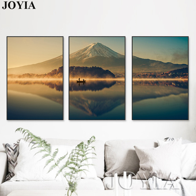 Japan Mount FUJI Wall Art 3 Piece Nature Mountain Peaceful Lake Canvas Pictures For