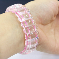 Fashion Natural Pink Crystal Stone Manual Bracelets 10x19mm Geometry Beads Bangle For Women Elegant Charms Jewelry 7.5ich B3272