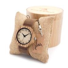 BOBO de AVES 2016 100% Madera Reloj De Madera Reloj Fecha Brazalete de la Pulsera de reloj de Cuarzo Con Correa de Cuero Real En Caja de Regalo
