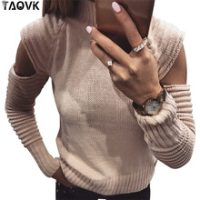 TAOVK Women round neck sweater pullovers Lady long Ruffle sleeves Female slim sexy solid color hollow sleeve skinny sweat top