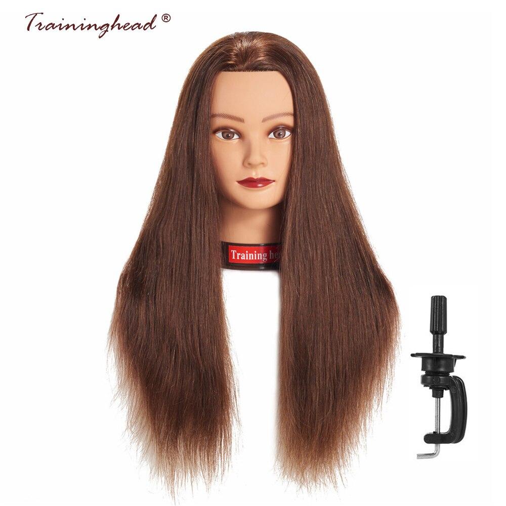 Traininghead 24-26 ''100% Cheveux Humains Salon Tête de Mannequin Pour Perruques Maquillage Pratique Formation Poupée Tête Pour Coiffeur avec Stand