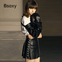 Sexy Little Black Skirt 2019 High Waist Lace Up PU Leather Skirt Women Pleated A line Micro Mini Skirt Jupe Femme Punk Saia