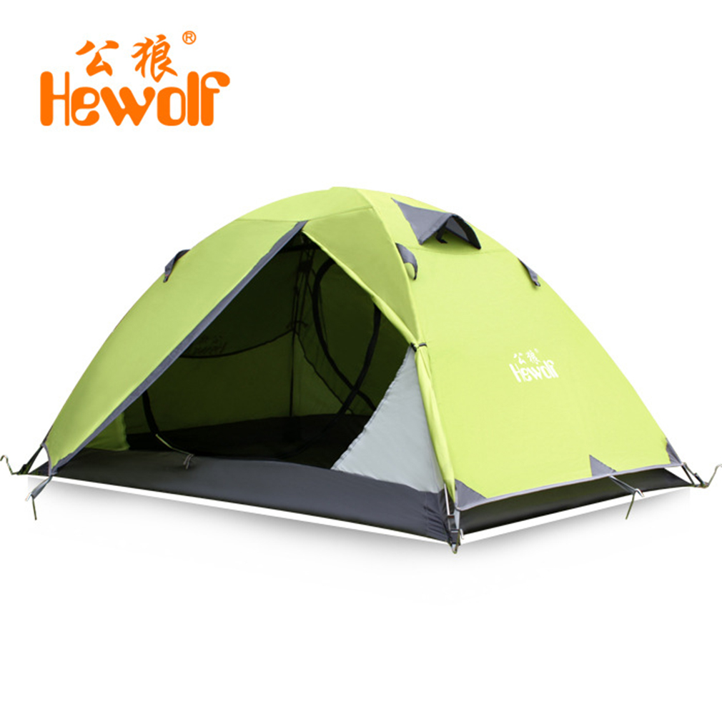 Hewolf 2 Person Tents Camping Tents Double Layer Waterproof Windproof Outdoor Tent For Hiking Fishing Hunting Beach Picnic Party hot outdoor camping double layer 2 person aluminum rod tent waterproof windproof high strength camping tent