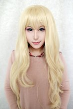 MCOSER 90cm Long TouhouProject-Watatsuki noToyohime  light yellow   Wavy Anime fashion beautiful  Cosplay  wig