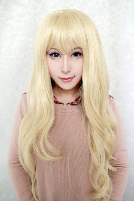MCOSER 90cm Long TouhouProject-Watatsuki noToyohime  light yellow   Wavy Anime fashion beautiful  Cosplay  wig