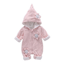 VTOM New Autumn Baby Long-sleeved Rompers Hooded  Jumpsuits Cotton Clothes For Newborn Girls And Boys
