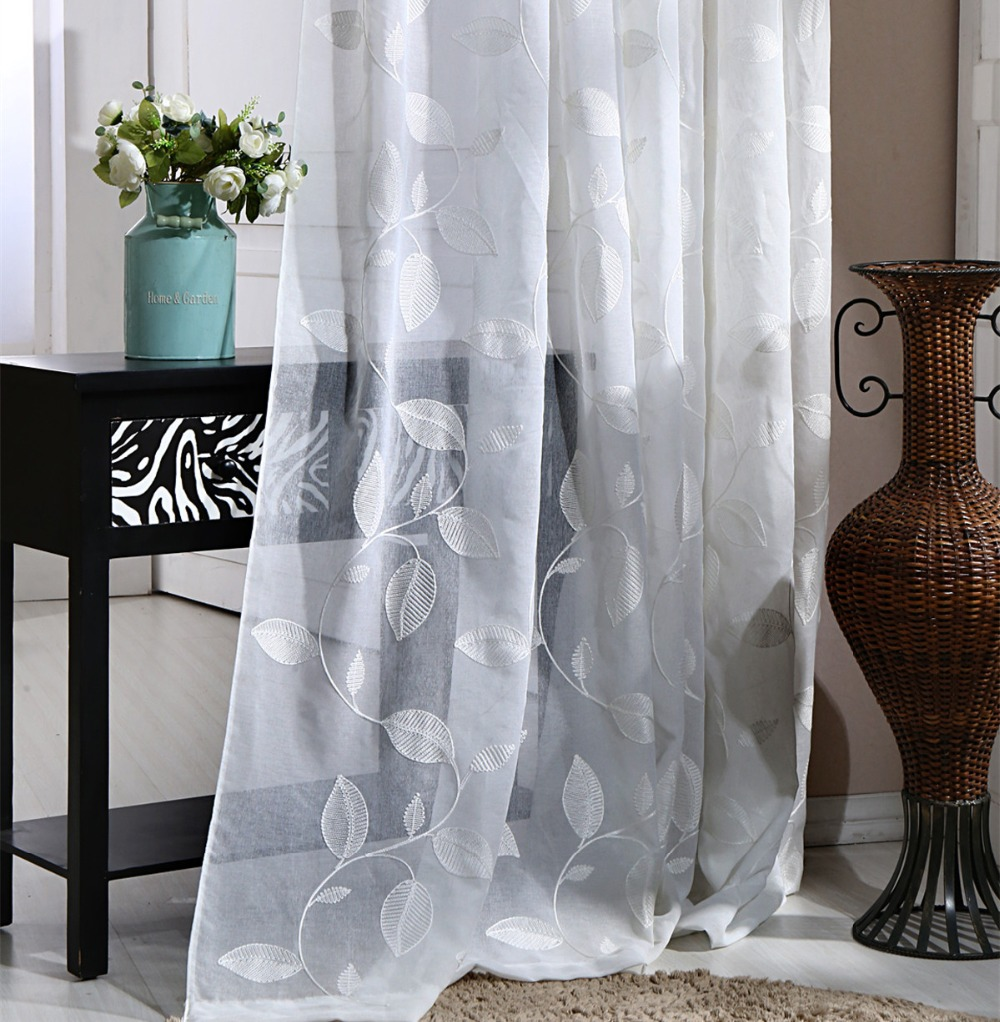[Slow Soul] White Leaves Curtain For Living Room Fabric For Curtains  Embroidered French Door Rideau Tulle Sheer Chinese Cotton