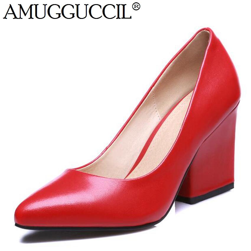 ФОТО 2017 New Arrival Genuine Leather Black Red Fashion Sexy Causal High Heel Spring Autumn Females Lady Shoes Women Pumps D1027