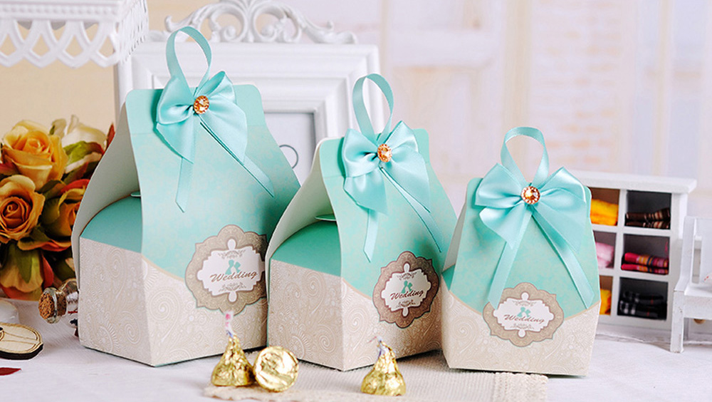50pcs Blue Candy Boxes Party Favors Wedding Box Sweets
