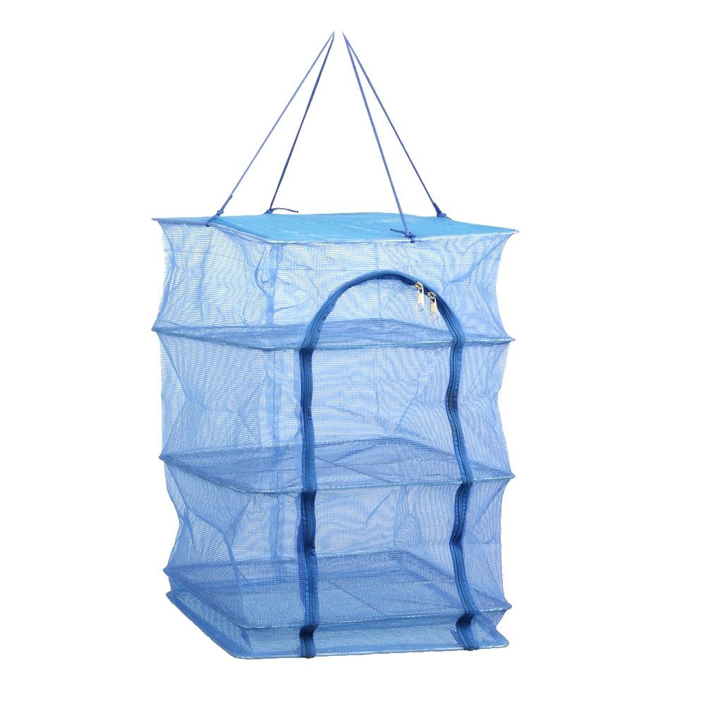 Fällbara 4 lager Torka Net Fish Net Torka Rack Hänga Vegetabiliska - Fiske