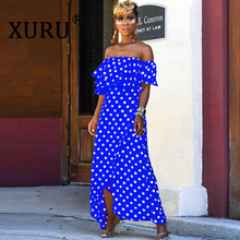 XURU summer new chiffon dress digital print fashion dot dress bohemian irregular women's tube top dress dot print swim dress