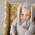 Nuevo 2016 Niños Niños Orejas de Conejo Suéteres Bebé Suéter con Capucha de Lana Tejido de Punto de Algodón Infantil de Invierno Suéter Envío Libre